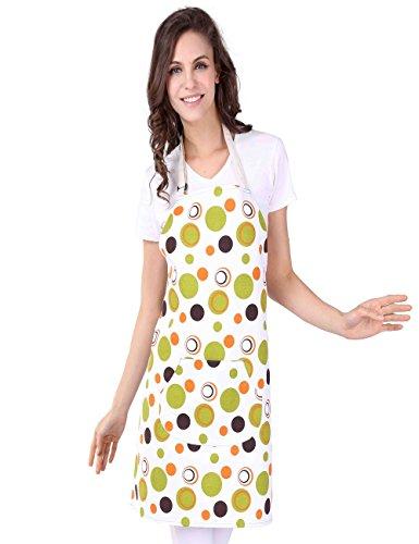 WM BEAUTY Aprons for Woman Adjustable Neck Strap Waist Ties Cute Green Polka Dot Fancy Womens Fashion Apron