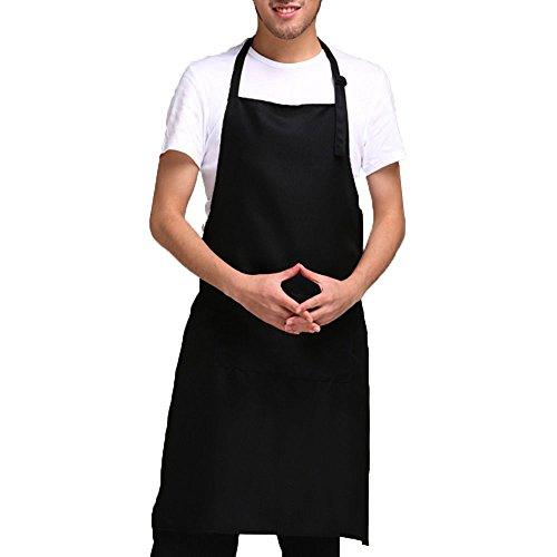 Unisex Bib Apron for Women Men with PocketsSet of 2 Adjustable Neck Straps Household Gourmet Chef Home Aprons Machine Wash Couples Painters Beautician Workers Uniform Black