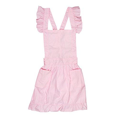 BESTOYARD Victorian Style Pinafore Cake Apron Maid Smock Costume Dress Ruffle Pockets Pink