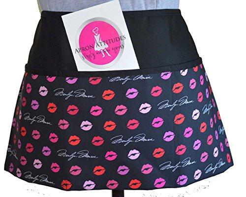 Marilyn Monroe Kissing Lips Print 3 Pocket Waist Apron Waitress Aprons Restaurant Aprons Half Aprons Bistro ApronsWaiter ApronsHalf Aprons