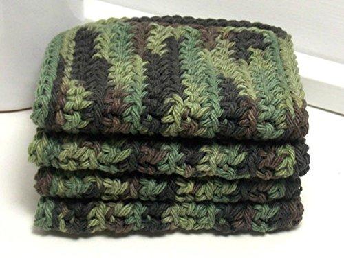 Camouflage 4 Inch x 7 Inch Rectangular Crochet Cotton Dishcloths Set of 4