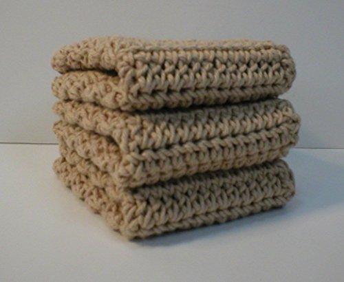 Handmade Crochet Cotton Washcloths Dishcloths Set of 3 Beige