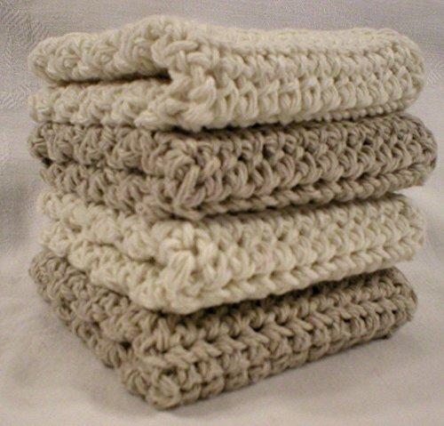 Handmade Crochet Cotton Washcloths Dishcloths Set of 4 2 Beige 2 Cream