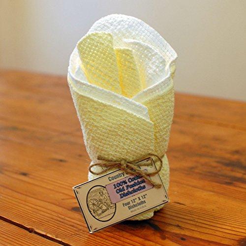 Old Fashion 100 Cotton Dishcloths - Set of 4 - 12 x 12 White  Yellow