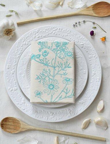 SALE - Chamomile Flour Sack Towel in Mint Green - Tea Towel - Kitchen Towel - Cotton Dishcloth - Flour Sack Towel