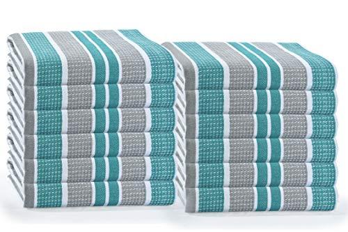 GLAMBURG 12-Pack Cotton Kitchen Dish Towels 18x28 Kitchen Dish Cloths Tea Towels Kitchen Towels with Hanging Loop Absorbent Dish Towels Cotton - Teal