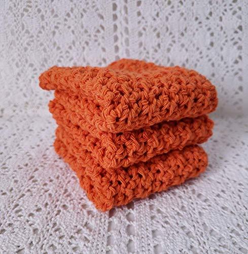 Tangerine Orange Dish Cloths Washcloth Kitchen Dish Rag Environmentally Friendly Recycled Cotton Wash Cloth Set of 3 Handmade