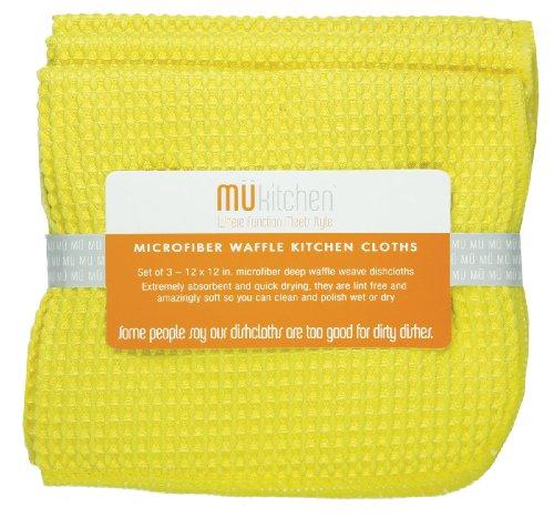 MUkitchen MUmodern Waffle Microfiber Dishcloth Set of 3 Lemon