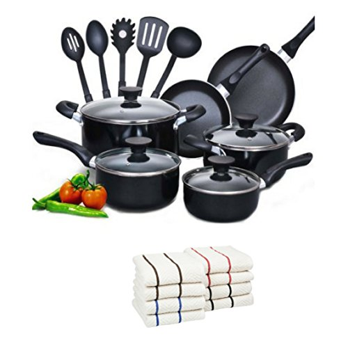 Cook N Home 15-Piece Aluminum Non-stick Soft Handle Cookware Set with 8-Pc 100 Cotton Kitchen Towel black