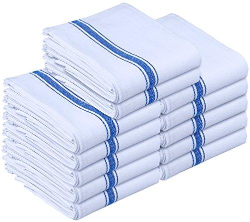 Kitchen Towels Dish Cloth 12 Pack Machine Washable Cotton White Kitchen Dishcloths Dish Towel Tea Towels 15 x 25 Inch by Utopia Towels