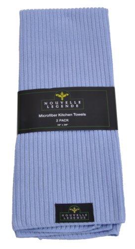 Microfiber Pearl Weave Kitchen Towels 2-Pack Light Blue