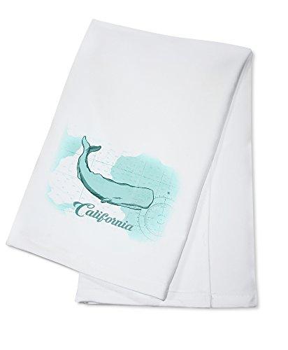 California - Whale - Teal - Coastal Icon 100 Cotton Absorbent Kitchen Towel