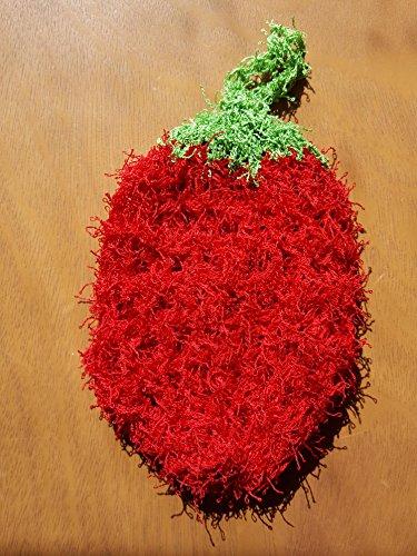 Handmade crochet dishcloth strawberry shape