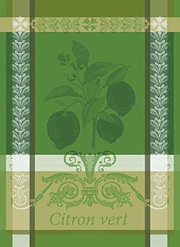 Garnier Thiebaut Citron Vert Lime French Jacquard Kitchen Towel 100 Percent Cotton 22 Inches x 30 Inches