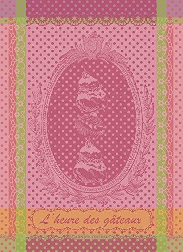 Garnier Thiebaut LHeure des Gateaux Rose CakeTime Pink French Jacquard Kitchen Towel 100 Percent Cotton 22 Inches x 30 Inches