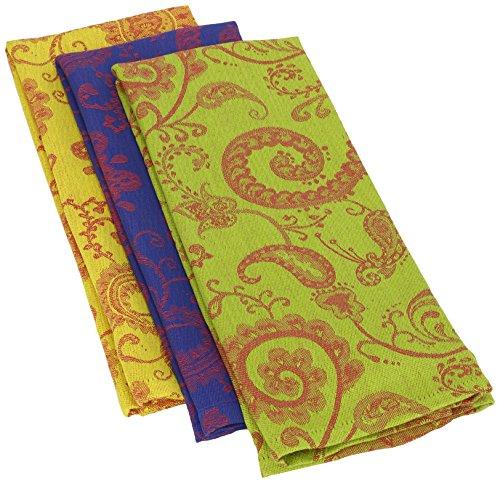 Mahogany Jacquard Kitchen Towel 18 by 28-Inch Jaisalmer Pattern Set of 3