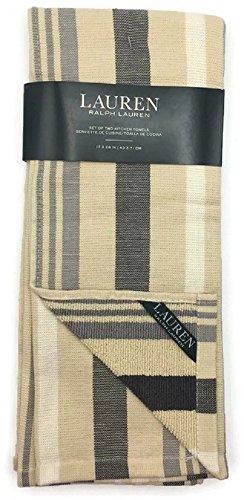 Lauren by Ralph Lauren Beige and Grey Striped Kitchen Towels - Set of Two