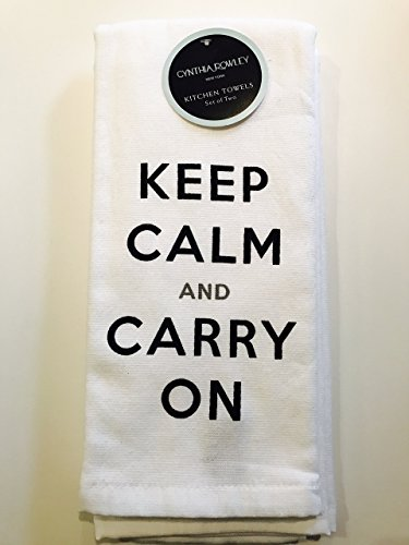 Keep Calm and Carry On Set of two 100 cotton Kitchen Towels by Cynthia Rowley