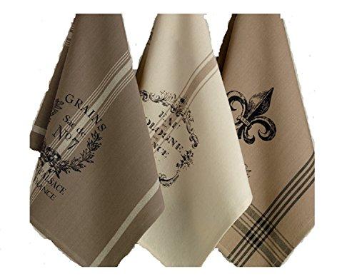 DII Design Imports Kitchen Towel Hanging Loop Set of 3 French Grain Sack Fleur De Lis Cologne Printed Dishtowels  18 X 28 100 Cotton Machine Wash