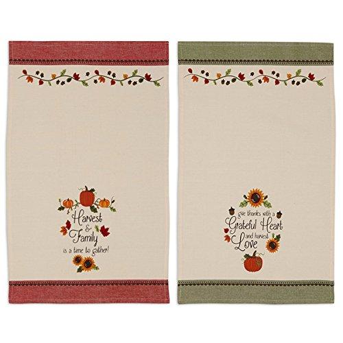 Design Imports COS34170 Thankful Harvest Printed Dishtowel Set of 2