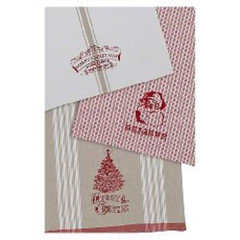 Design Imports Vintage Christmas Printed Dishtowels - Set of 3