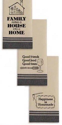 Happy Home Printed Dishtowels Set of 3