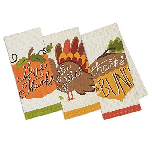 Set3 Pumpkin Spice Thanksgiving Printed Dish Towels Acorn Pumpkin Turkey - 18 x 28