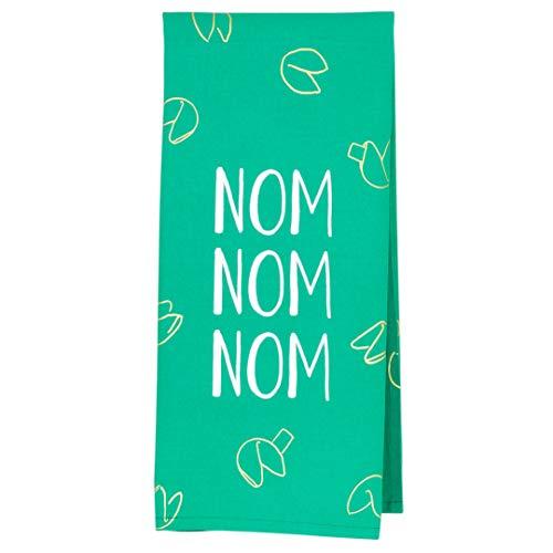 About Face Designs Nom Nom Nom on Teal 265 x 19 Cotton Tea Dish Towel