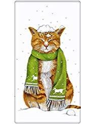 Orange Tabby Holiday Snow Cat 100 Cotton Flour Sack Dish Tea Towel - Mary Lake Thompson 30 x 30