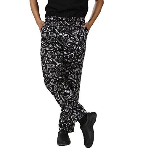 JXH Chef Uniforms mens white kitchen ware printed 100 cotton chef pants Black 3XL