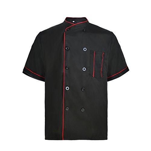TopTie Short Sleeve Chef Jacket Kitchen Cook Coat Stripe Uniforms BLACK-L