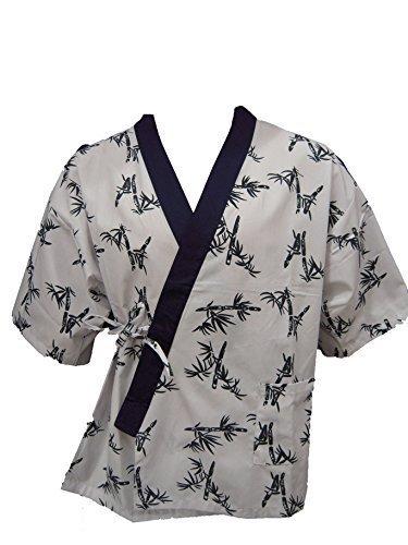 White Bamboo Print Sushi Chef Uniform Large