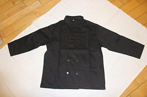 All Black Unisex Chef Jacket Long Sleeves Size 46 2X-Large