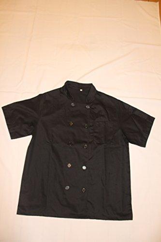 Black Unisex Chef Jacket Short Sleeves Size 40 Large
