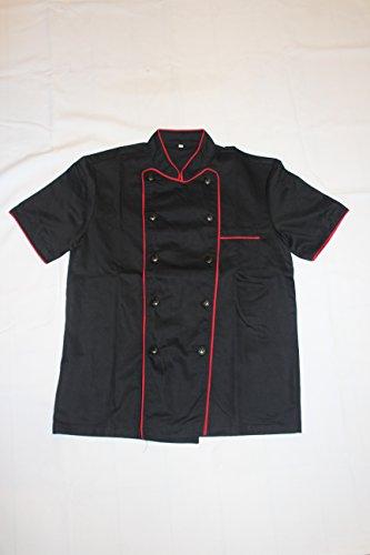 Black Unisex Chef Jacket with Red Lining Short Sleeves Size 38 Medium