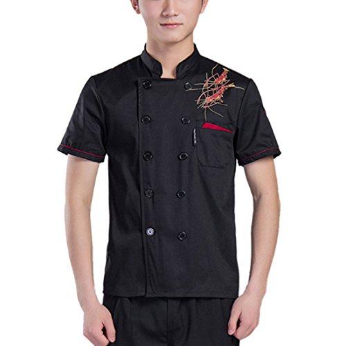 Freahap Chef Coat Bar Pub Uniforms Short Sleeves Restaurant Waiter Jacket Black L
