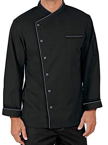 Black Chef Coat Full Sleeve White Piping Size-3XL