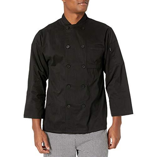 Chef Code Mens Classic Cotton Long Sleeve Coat Black Large