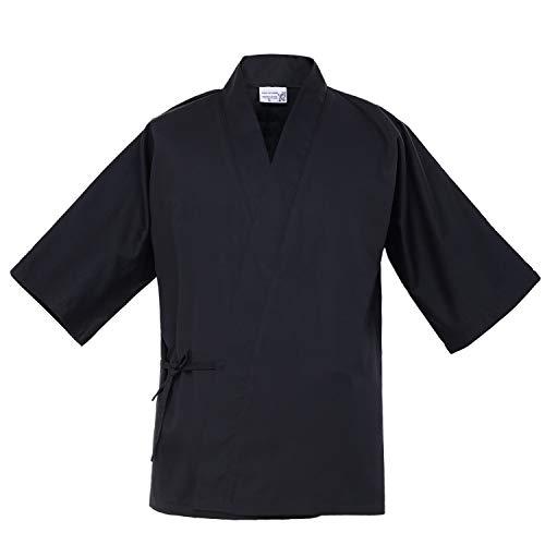 Japanese 34 Sleeve Black Chef Coat Men Women Summer Sushi Restaurant Kimono Chef Waiter Work Uniform