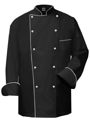 Newchef Fashion VIP Black Chef Coat White Trim M Black