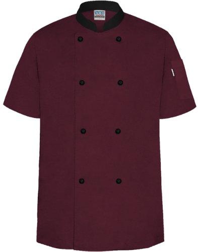 Newchef Fashion WineBlack Chef Coat Contrast Collar Short Sleeves L Wine_Black