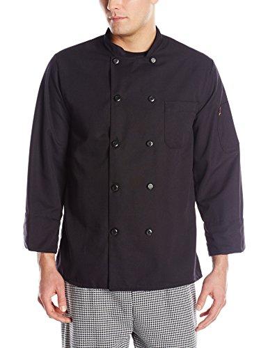 Red Kap Chef DesignsSpun Poly Black Chef Coat Black Medium