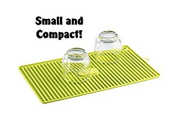 Comfort Zone Premium Silicone Dish Drying Mat  Heat Resistant Trivet  SMALL COMPACT - EASY STORAGE  Unique Ribbed Design  Bright Green  100 Satisfaction Guaranteed