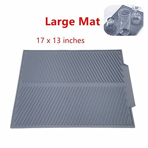Self Draining Silicone Drying Mat 17 x 13 inches 071 lb  Dish and Glassware Sloped Board Silicone Tray in Grey Anti-Bacterial Dish Washer Safe Heat Resistant Trivet Large Mat-grey