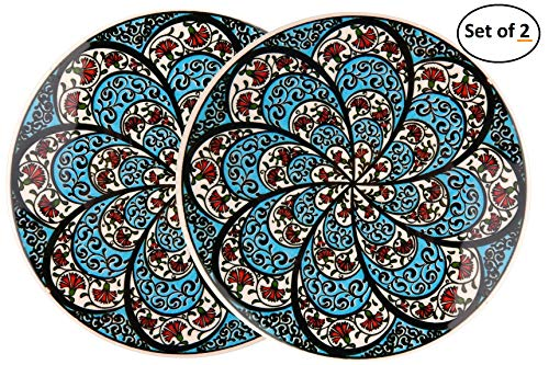 Barabaros Hand Art Ceramic Trivet By EuroHand - Ottoman Anatolian Decorative Organic Paint Iznik Trivet - Set of 1 - Scratch Proof Machine Washable Foam Backing Heat Resistant Housewarming Gift