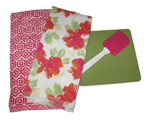 Pink Orange Green and White Kitchen Set - Dish Towels Trivet Spatula 4 Items