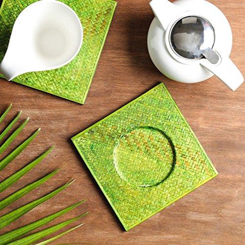 Unravel India Sabai grass green trivet setSet of 2