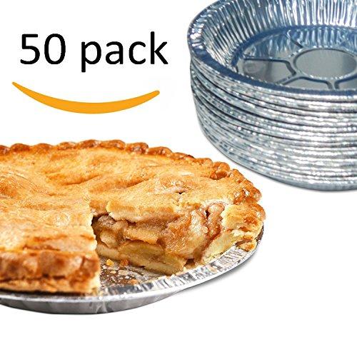 Premium 9 Aluminum Foil Pie Pans Disposable Tin Plates for Pies Tart Quiche Pack of 50