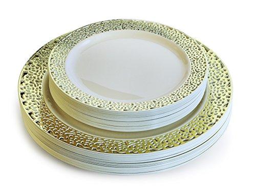 OCCASIONS  50 Piece Pack Premium Disposable Plastic Plates Set - 25 x 1025 Dinner  25 x 75 Salad  dessert  Florence Ivory  Gold …