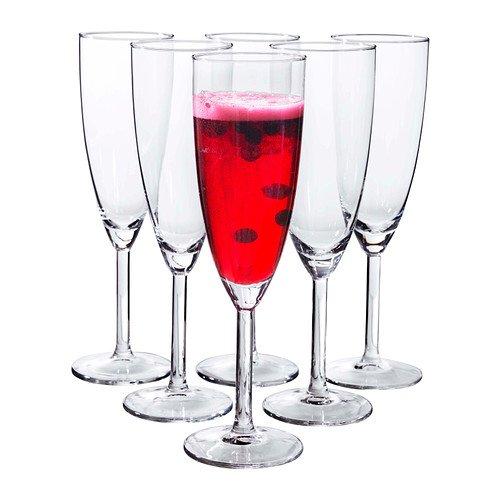 Ikea - Svalka Champagne Flute, Clear Glass (x6)